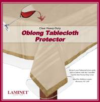 "LAMINET Heavy-Duty Deluxe Crystal Clear Vinyl Tablecloth Protector 70"" x 90"" - Oblong"