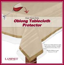 "LAMINET Heavy-Duty Deluxe Crystal Clear Vinyl Tablecloth Protector 70"" x 90"" - Oblong"