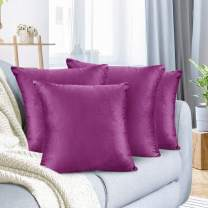 "Nestl Bedding Throw Pillow Cover 18"" x 18"" Soft Square Decorative Throw Pillow Covers Cozy Velvet Cushion Case for Sofa Couch Bedroom, Set of 4, Orchid Purple"