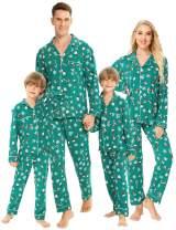 SWOMOG Matching Family Christmas Pajamas Set Long Sleeve Festival Party Pj Sets Holiday Warm Sleepwear Button-Down Loungewear