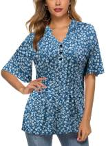 HOCOSIT Women's Floral Print Short Ruffle Sleeve Pleated Front V Neck Button Tunic Tops