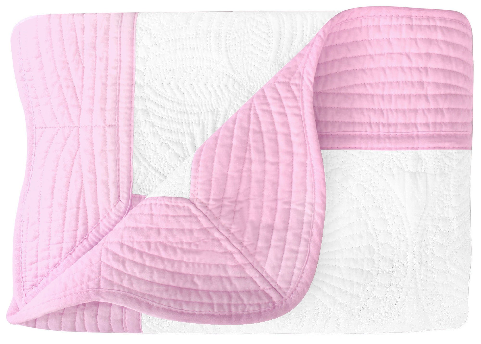 Lullaby Baby Infant Blankets All Weather Lightweight Soft Quilt, White Pink