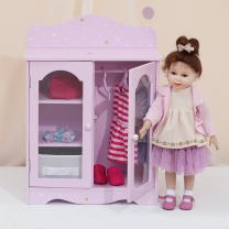 Olivia's Little World - Twinkle Stars Princess 18 inch Doll Wooden Closet with 3 Hangers, Fits American Girls, Our Generation Dolls, Doll Furniture, Accessories and Clothes Storage - Purple