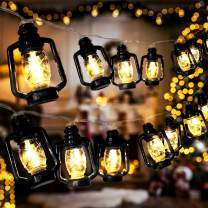 AceList 20 LED Black Lantern String Lights Mini Kerosene Lamp for Indoor Outdoor Patio Garden Holiday Home Ramadan Wedding Party Christmas Tree New Year Decorations(Warm White Light)