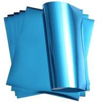 "Stretchable Metallic Heat Transfer Vinyl Blue Aqua Foil HTV for T-Shirt 12"" X 9.8"" (Pack of 6)"