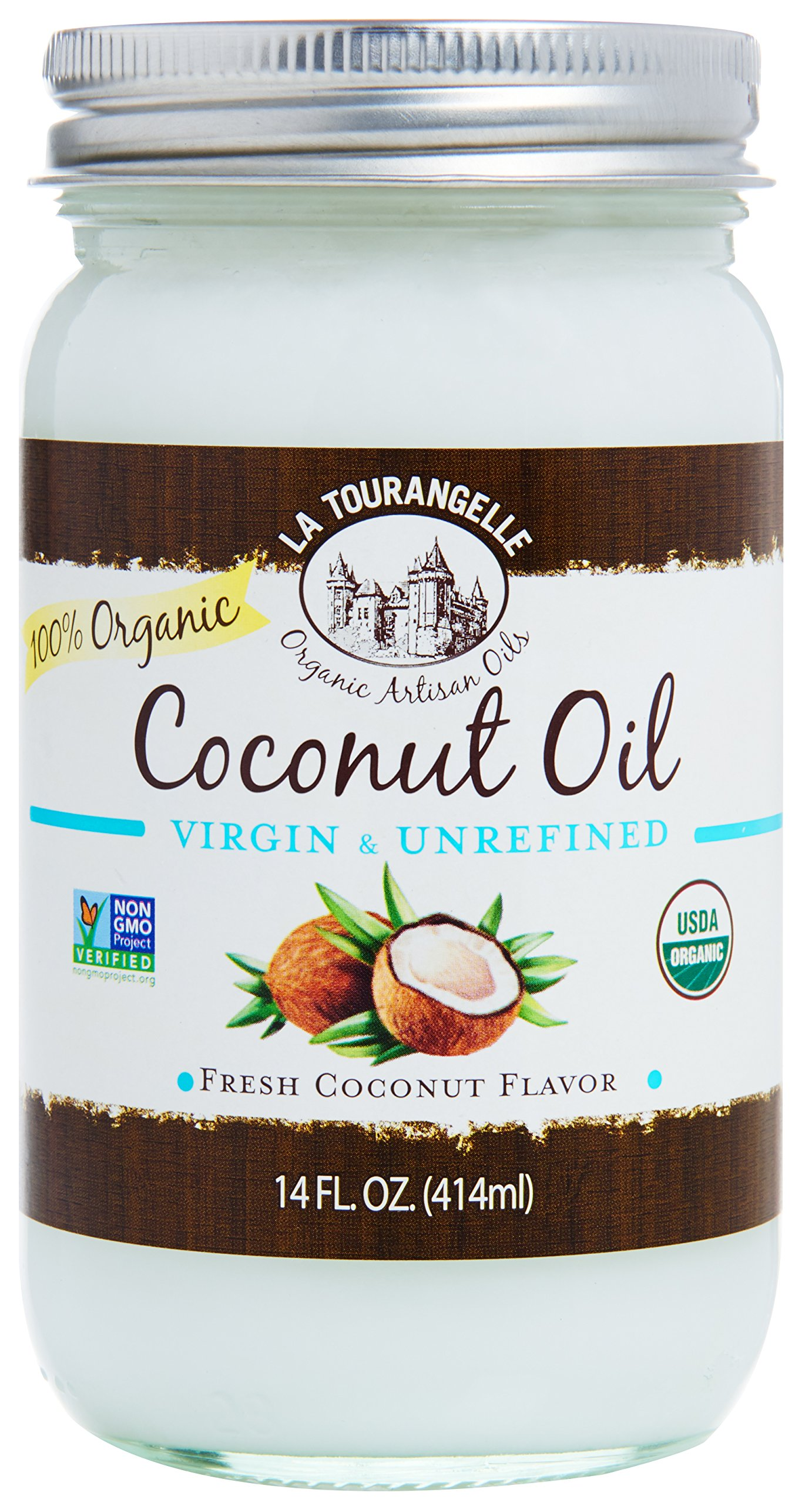 La Tourangelle Organic Virgin Unrefined Coconut Oil 14 Fl. Oz., Organic Coconut Oil, Great for Cooking Baking and Hair and Skin Care