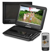 """UEME Portable DVD Player with Car Headrest Mount Case, 10.1"""" HD Swivel Screen, Remote Control, Power Adapter, Car Charger, 5 Hours Rechargeable Battery, Support USB/SD Card and TV Sync - Black"""