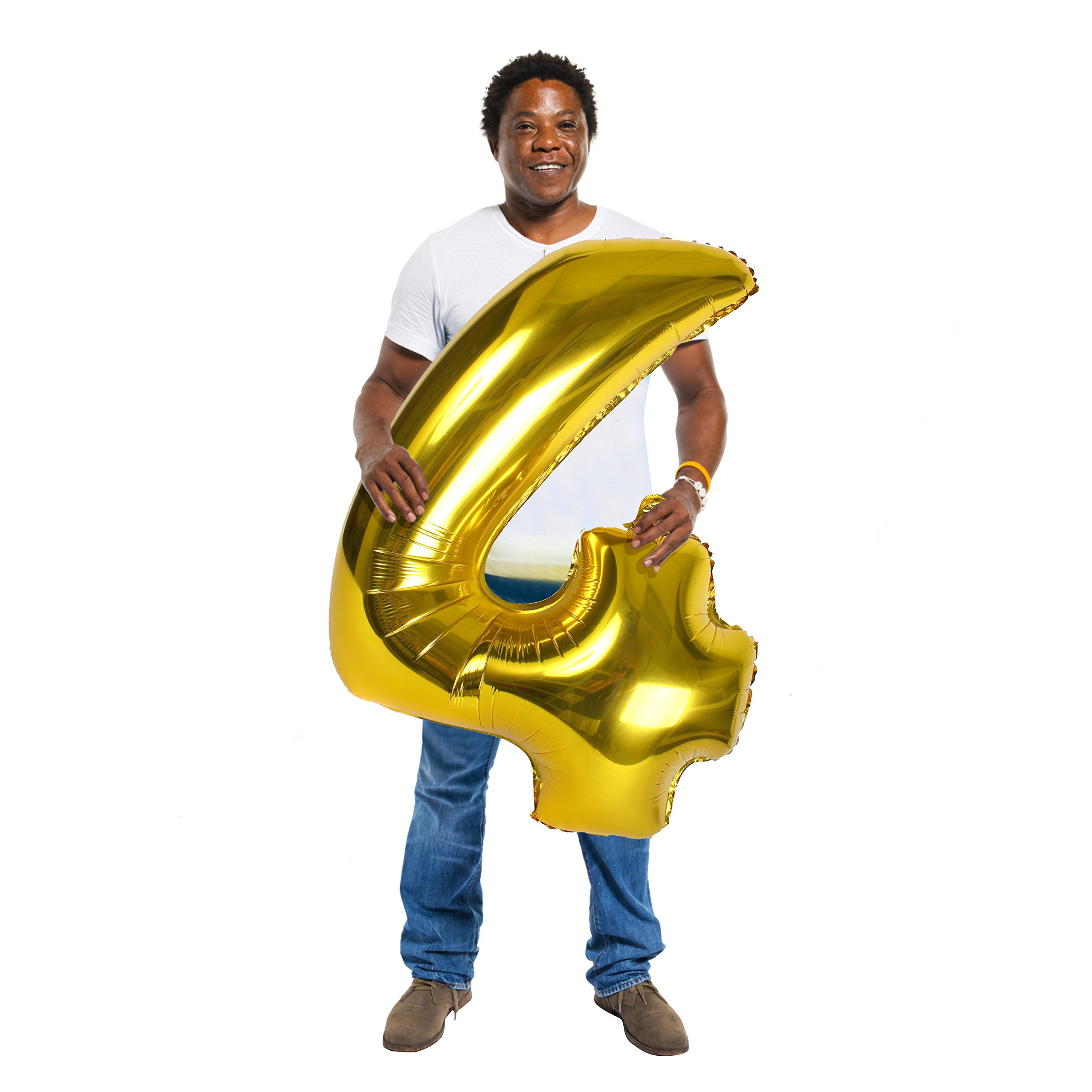 Treasures Gifted 40 Inch Gold Number 4 Balloon Large Foil Mylar Balloon for Birthday Party Wedding Anniversary Graduation Decorations Jumbo Foil Photo Props Picture Booth Big Ornaments