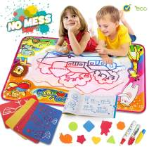"""Water Drawing Mat Aqua Magic Doodle Mat Kids Toys Mess Free Kids Painting Writing Doodle Board Toy Educational Writing Mats Xmas Gift for Toddlers Boys Girls Age of 2,3,4,5,6 Year Old Size 34.5"""" X 23"""""""