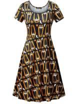NASHALYLY Halloween Knee Length Dress,Casual Short Sleeve Printed Party Dresses(102 2XL)