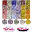 Glass Seed Beads Kit Bulk, 3600PCS 5mm 24 Colors Small Pony Colorful Rainbow Striped Beads Assorted with Elastic String for DIY Craft Bracelet Necklace Jewelry Making Supplies