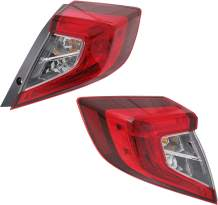 Tail Light Set of 2 Compatible With 2016-2020 Honda Civic Clear & Red Lens Halogen With bulbs Driver and Passenger Side Outer