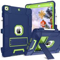iPad 10.2 2019 Case iPad 7th Generation Case GUAGUA Kickstand Heavy Duty 3 in 1 High Impact Full-Body Rugged Shockproof Protective Pencil Holder Tablet Case for iPad 10.2 Inch 2019 Navy Blue/Yellow