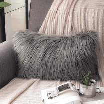 Phantoscope Luxury Series Throw Pillow Covers Faux Fur Mongolian Style Plush Cushion Case for Couch Bed and Chair, Grey, 12 x 20 inches, 30 x 50 cm