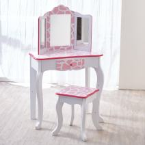 Teamson Kids Pretend Play Kids Vanity Table and Chair Vanity Set with Mirror Makeup Dressing Table with Drawer Fashion Giraffe Prints Gisele Play Vanity Set Pink White