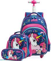 HTgroce Girls Rolling Backpack with Wheels,Trolley School Bag Water Resistant Travel Luggage for Kids and Students,Unicorn