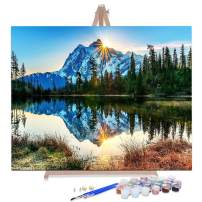 """AOLIGE DIY Plaid Oil Paint by Numbers for Adults Acrylic Canvas Framed and Easel 16"""" x 20"""" (Silent Mountain Lake)"""