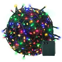 RPGT 500 LED Outdoor Indoor Battery Fairy String Lights on 50M Dark Green Cable - (8 Modes,Timer 6 Hours on,Multicolor)