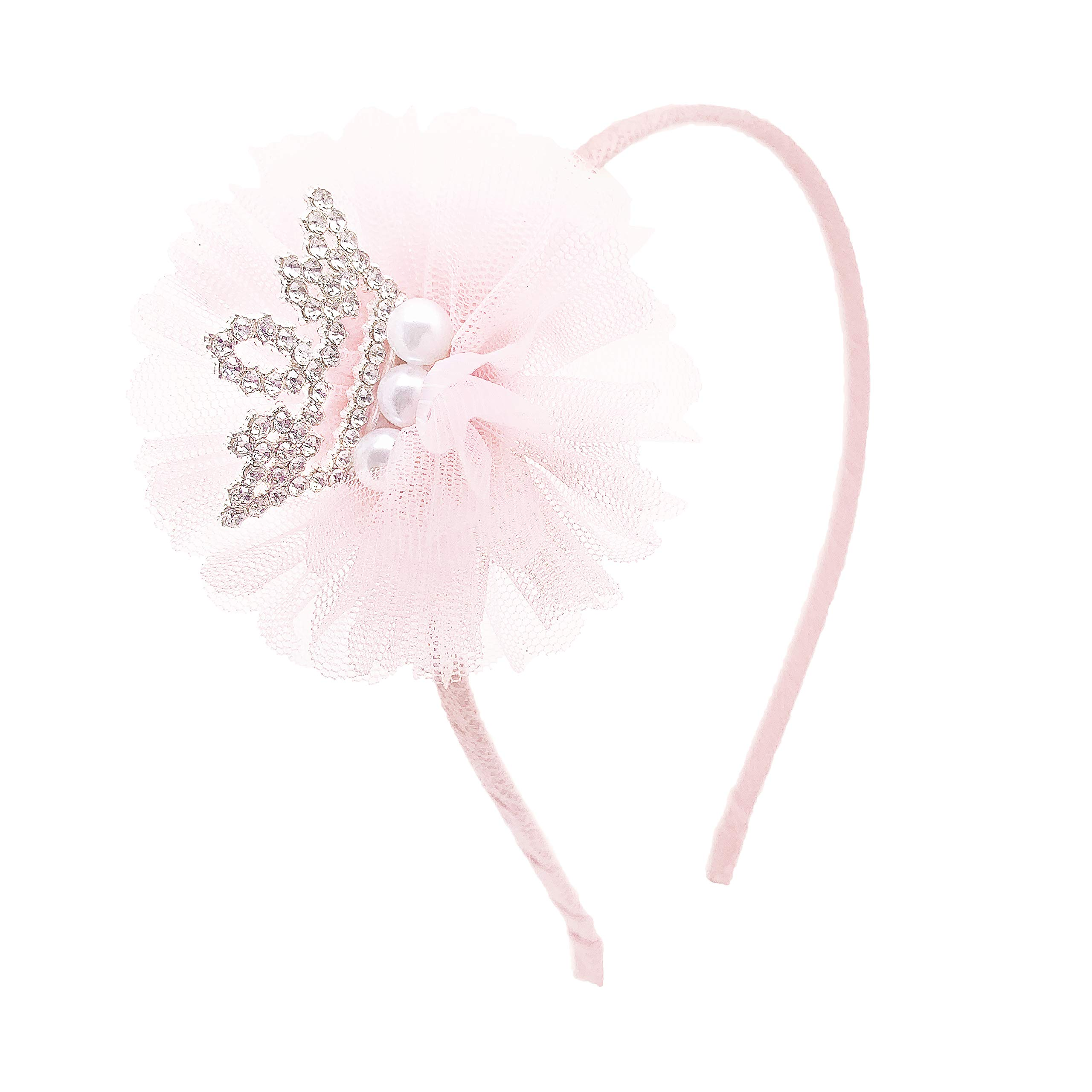 """Premium 3"""" Girls Crown Tiara and Pearls Headband Accessories Unique Cute and Handmade for Formal or Casual Dresses and Outfits with Luxurious Tulle and Rhinestones by Ecluv (Light Baby Pink)"""