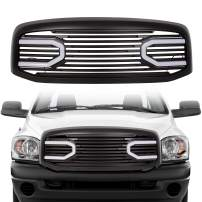 ECOTRIC For 2006 2007 2008 2009 Dodge RAM 1500 2500 3500 Front Big Horn Grille Replacement Shell(W/Light, Black)