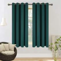 YGO Hunter Green Blackout Curtains for Bedroom Thermal Insulated Window Curtain Panels for Living Room 63 inches Long Room Darkening Window Treatment Sets 2 Panels