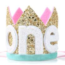 Baby ONE Crown for 1st Birthday - First Birthday Party Headband,Boy or Girl Glitter Crown, Newborn Photography Prop, Prince or Princess Souvenir and Gifts(Golden Red)