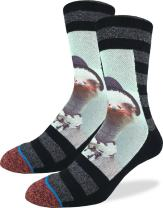 Good Luck Sock Men's Ostrich Mugshot Crew Socks - Black, Adult Shoe Size 8-13