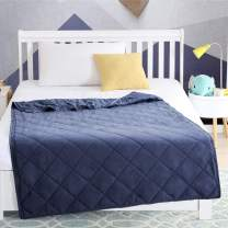 EXQ Home Weighted Blanket for Kids 5 lbs Safe Heavy Blanket Navy Blue Super Soft Toddler Weighted Blanket Without Glass Beads Filling, Organic Cotton