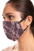 Auliné Collection Made in USA Fabric Washable Reusable Fashion Face Mask, 1PK Lace C
