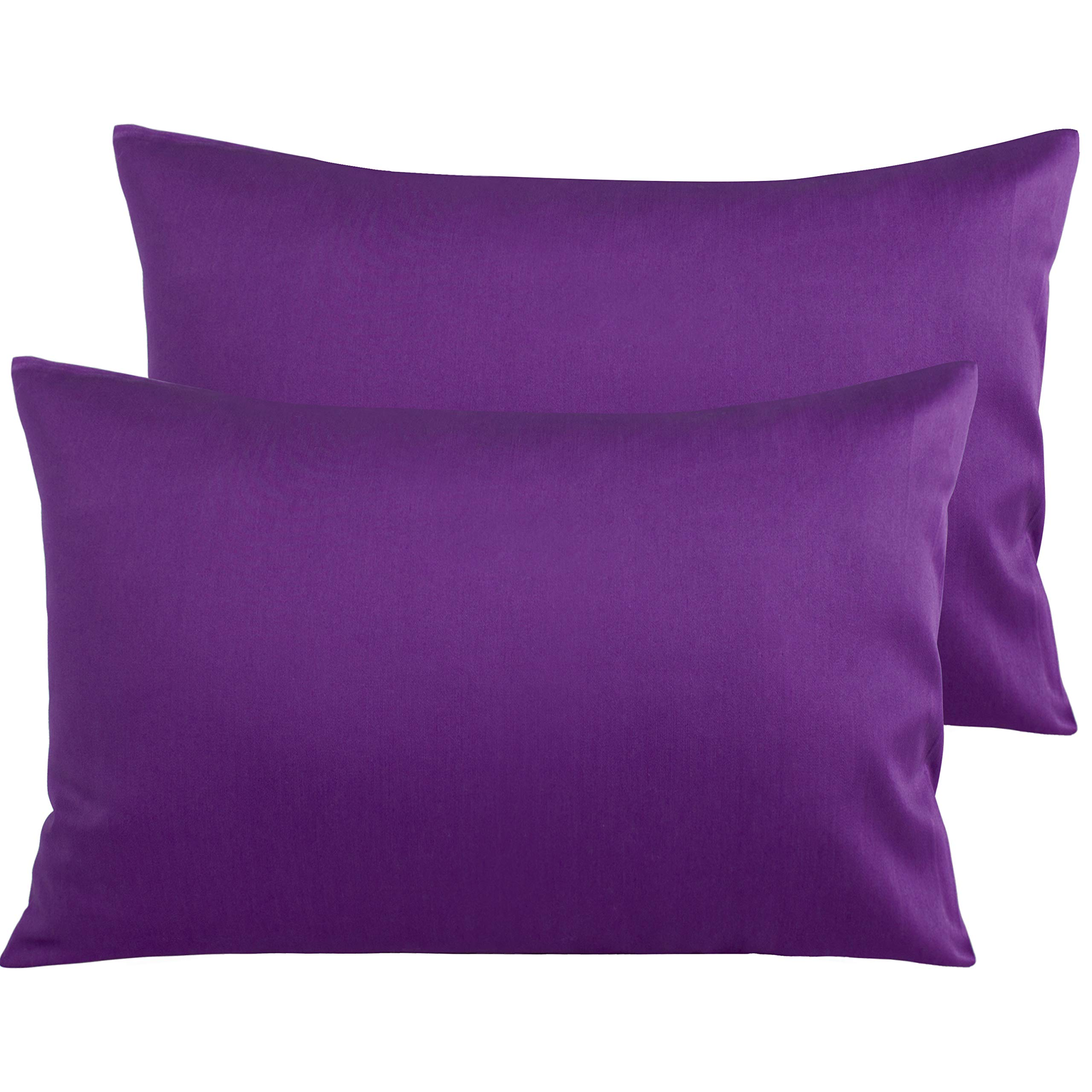 NTBAY 500 Thread Count Cotton Queen Pillowcases, Super Soft and Breathable Envelope Closure Pillow Cases, 20 x 30 Inches, Purple