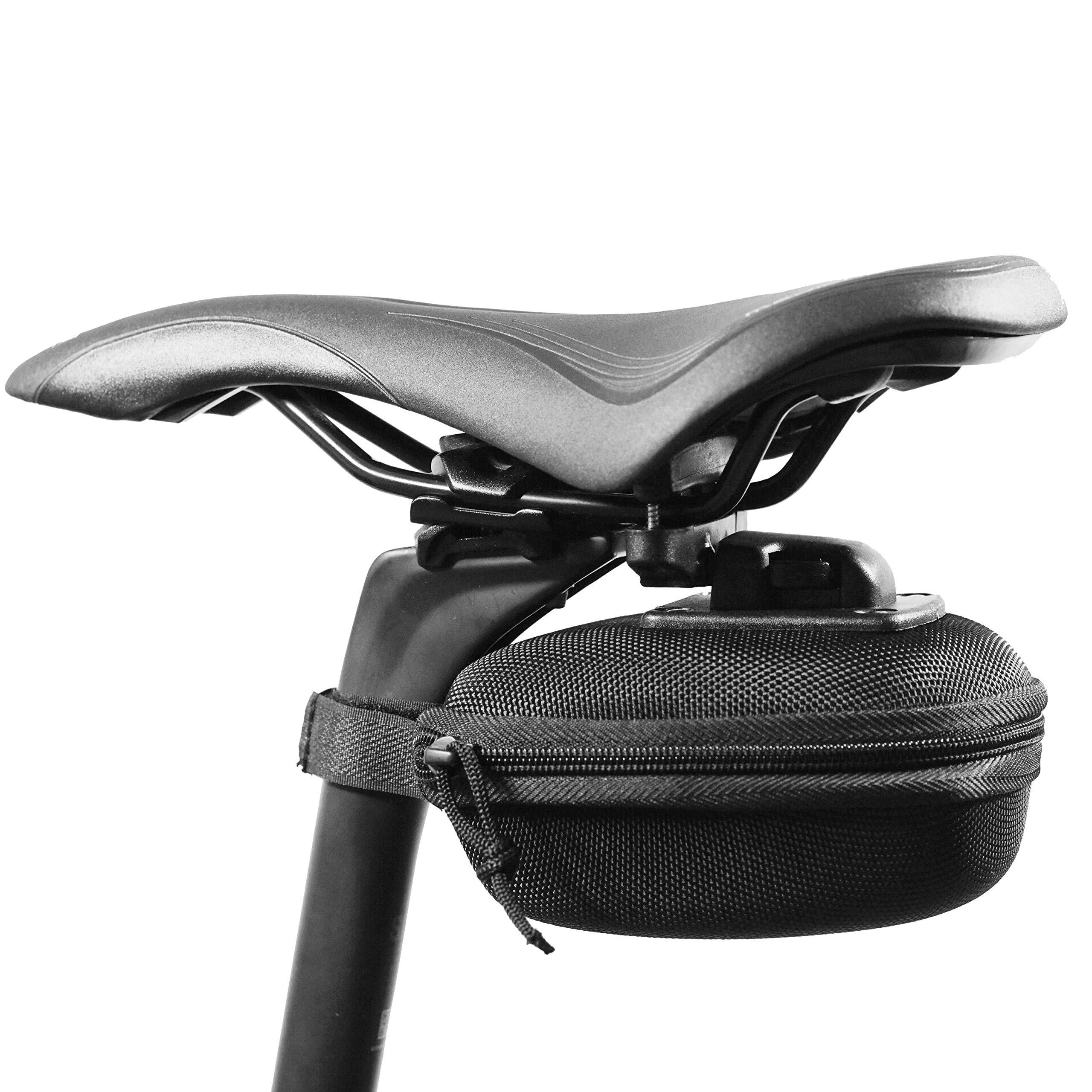 Vincita Stash Pack EVA Bicycle Saddle Bag - Medium Water-Resistant, Quick Release Fixing,Big Zippered Opening Seat Cycling Tool Bag Portable Storage, for Road Mountain Bike Folding Bike Adult Bike