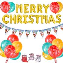 FUN LITTLE TOYS 78 PCS Christmas Party Decorations, Xmas Party Supplies Including Merry Christmas Banner Kit, Balloons and Hanging Flag String