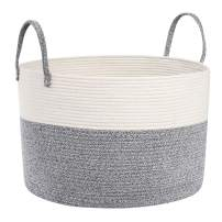 SONGMICS Cotton Rope Basket for Blanket Storage, Toy Storage Basket with Handles, Laundry Hamper for Clothes, Toys, Blankets, Living Room, Bedroom, Gray and Beige ULCB400G01