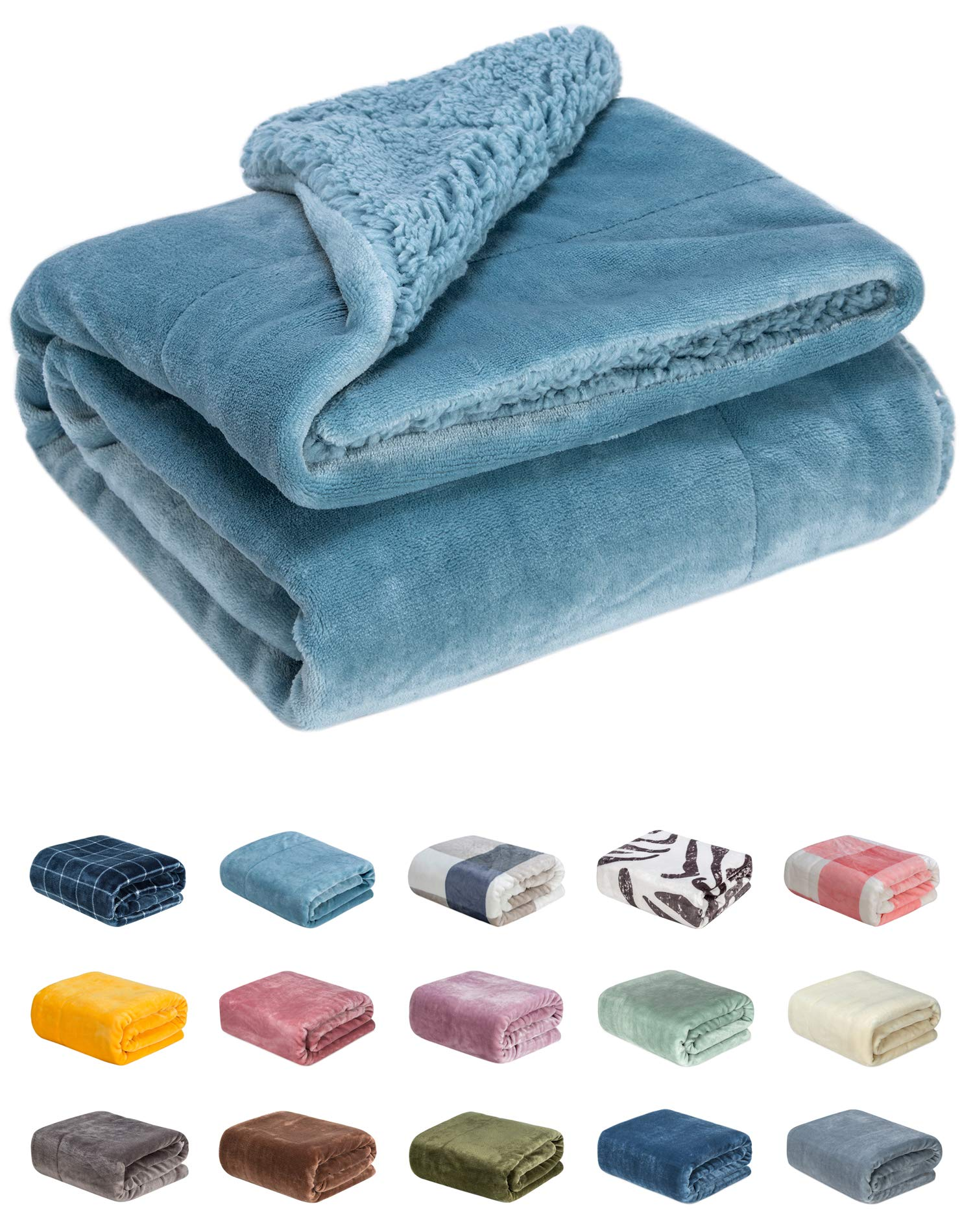 WONDER MIRACLE Fuzzy Sherpa Double Layers Super Thick and Warm Fleece Reversible Infant,Baby,Toddler,pet Blanket for Crib, Stroller, Travel, Couch and Bed (40Wx50L, S-Lake Blue)