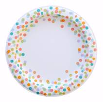 "Polka Dot Plates - 50-Count 10.5"" x 10.5"" Large Round Disposable Paper Birthday Party Plates in Pastel Colorful Confetti Design for All Occasion, Celebration, Easter, Lunch and Dinner"