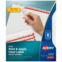 AVERY Plastic 8-Tab Dividers, Easy Print & Apply Clear Label Strip, Index Maker, Frosted Clear, 5 Sets (12450), Translucent