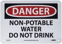 "NMC D307A OSHA Sign, Legend ""DANGER - NON-POTABLE WATER DO NOT DRINK"", 10"" Length x 7"" Height, Aluminum, Black/Red on White"