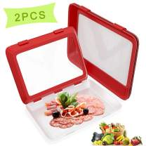 Food Preservation Trays Stackable Reusable Creative Food Storage Container with Elastic Locking Lid for Vegetables Fruit Meat for Kitchen Refrigerator Freezer (Red, 2-PCS)