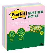 Post-it Greener Notes, 3 in x 3 in, 24 Pads, America's #1 Favorite Sticky Notes, Helsinki Collection, Pastel Colors (Pink, Blue, Mint, Yellow), Clean Removal, 100% Recycled Material (654RP-24AP)