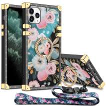 Aemotoy for iPhone 11 Pro Case Floral Cute with Ring Holder Grip Lanyard Girly Square Reinforced Corners Protective Shell Flexible TPU Shockproof Cover for 5.8 inch iPhone 11 Pro Blossom