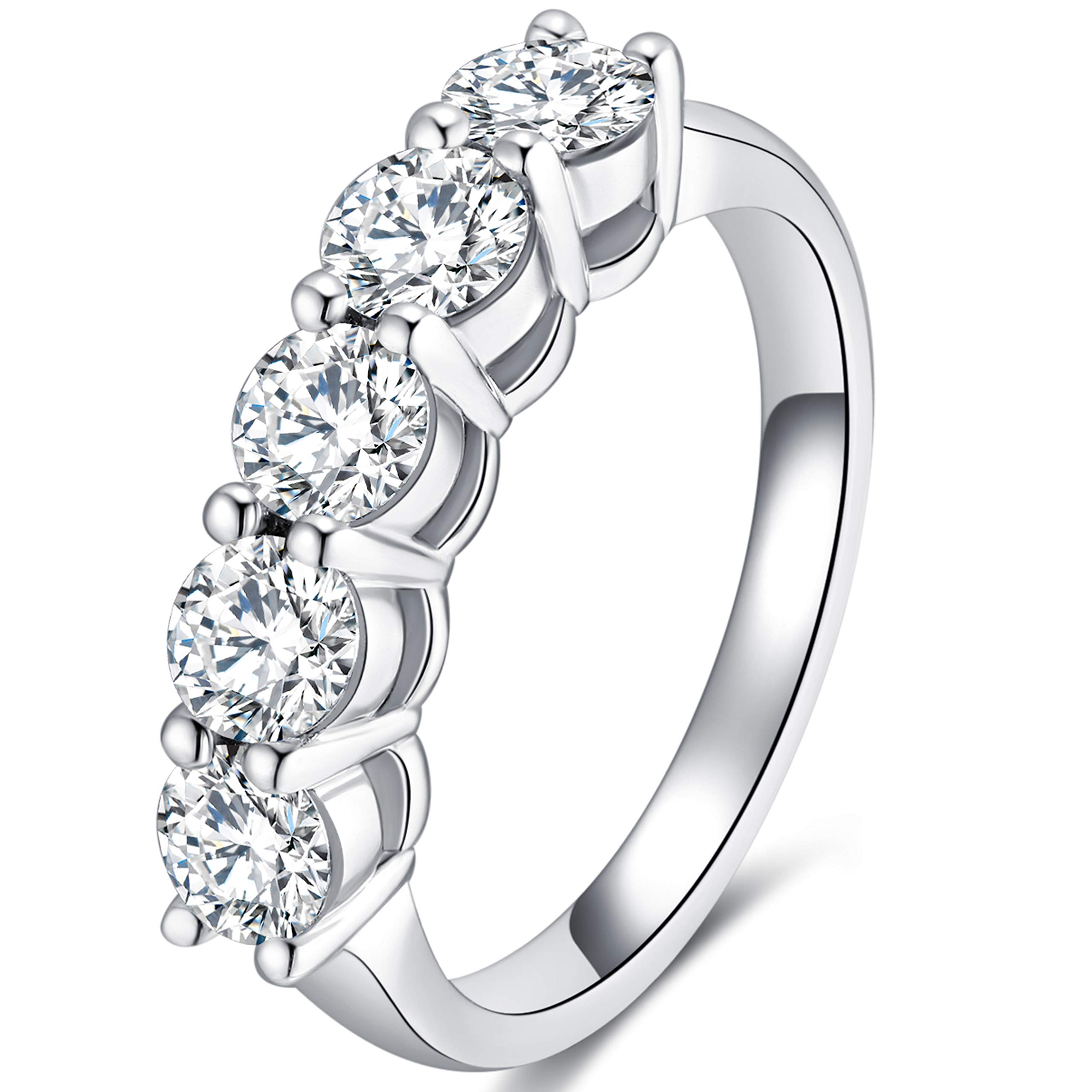 GEM DE LUXE 1.5ct 2.6mm Band Width F-G Color Moissanite Wedding Bands for Women Platinum Plated Silver