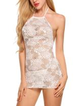 Hotouch Women Lace Lingerie Halter Chemise Floral Babydoll Sexy Outfit Transparent Dress