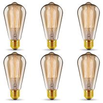 ST64 Vintage Edison Light Bulbs Dimmable 60W/110V E26/E27 Base Replacement Bulbs for Wall Sconces Lights, Pendant Light, Amber Warm & Squirrel Cage Filament Antique Light Bulb for Home Decor (6 Pack)