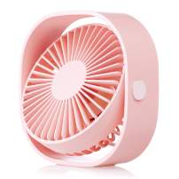 HOPEME 4'' USB Desk Fan, 3 Speeds and Quiet Operation, 360° Rotation, 3.8ft USB Cable, Strong Airflow Small Fan for Office, Home, Pink Color