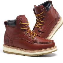 Men's Moc Toe Construction Work Boots Soft Toe/Composite Toe, Full Grain Leather Waterproof Working Boots EH Dual Density PU Sole Claret