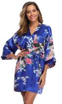 WitBuy Women's Short Floral Robe Silky Lightweight Sleepwear Satin Bridesmaids Robes for Bridal Party