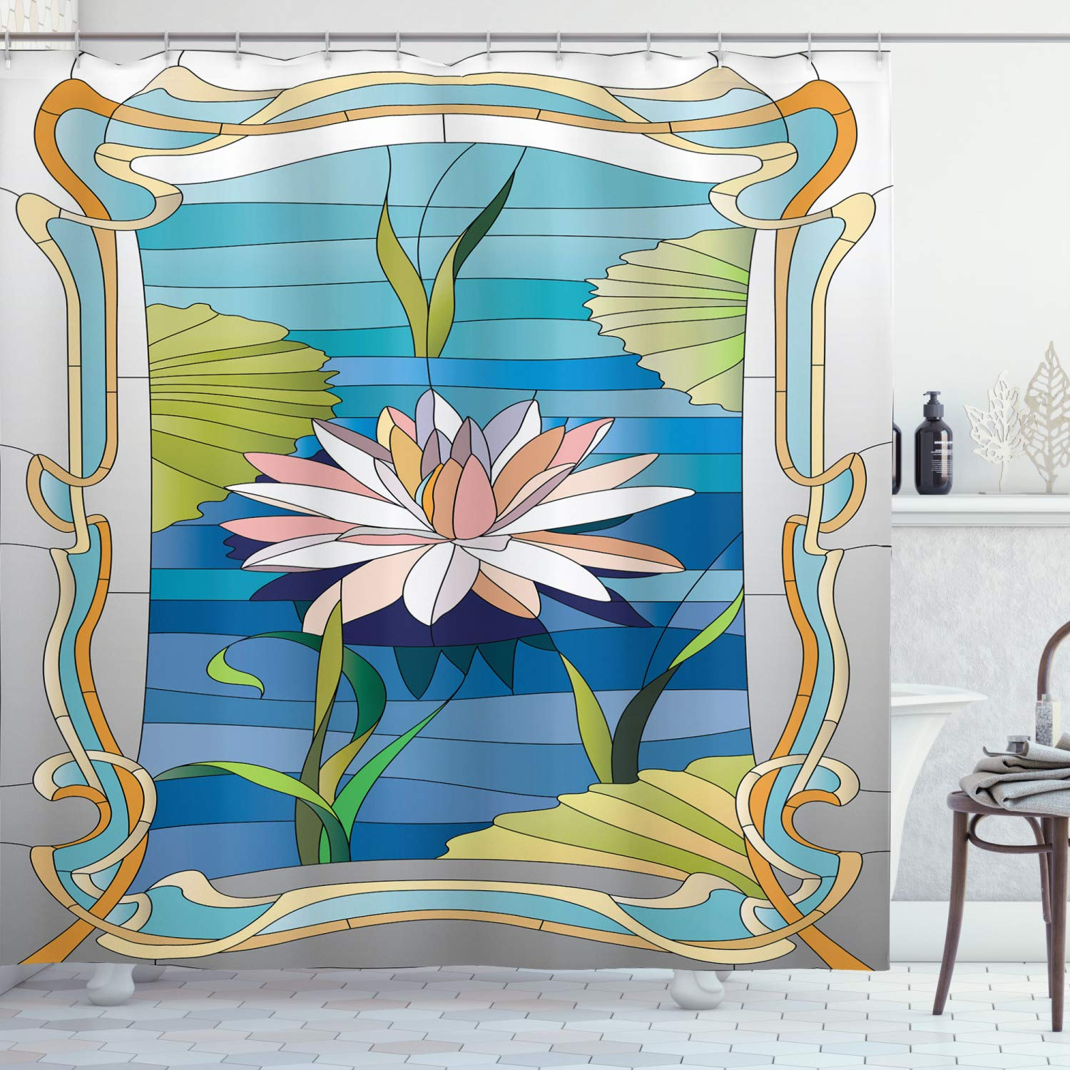 """Ambesonne Art Nouveau Shower Curtain, Lotus on The Water Baroque Avant Garde Classic Architecture Pattern, Cloth Fabric Bathroom Decor Set with Hooks, 70"""" Long, Green Blue"""