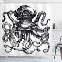 """Ambesonne Octopus Shower Curtain, Vintage Style Diver Octopus Marine Animal Tentacles Scuba Concept, Cloth Fabric Bathroom Decor Set with Hooks, 84"""" Long Extra, Charcoal and White"""