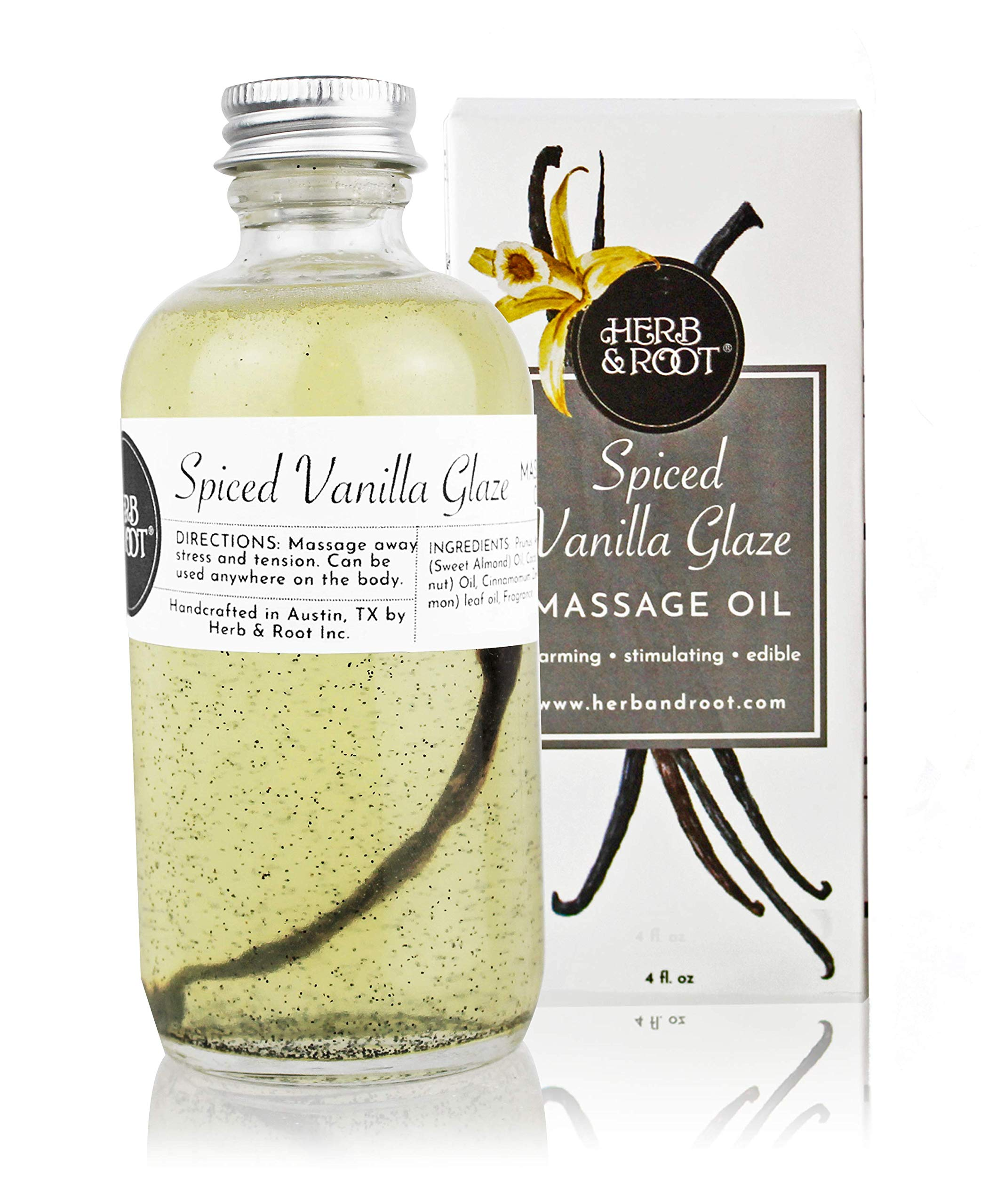 Edible Vanilla Massage Oil with Warming Cinnamon Spice to Relax The Muscles | Non-Greasy Blend of Almond and Coconut Oils