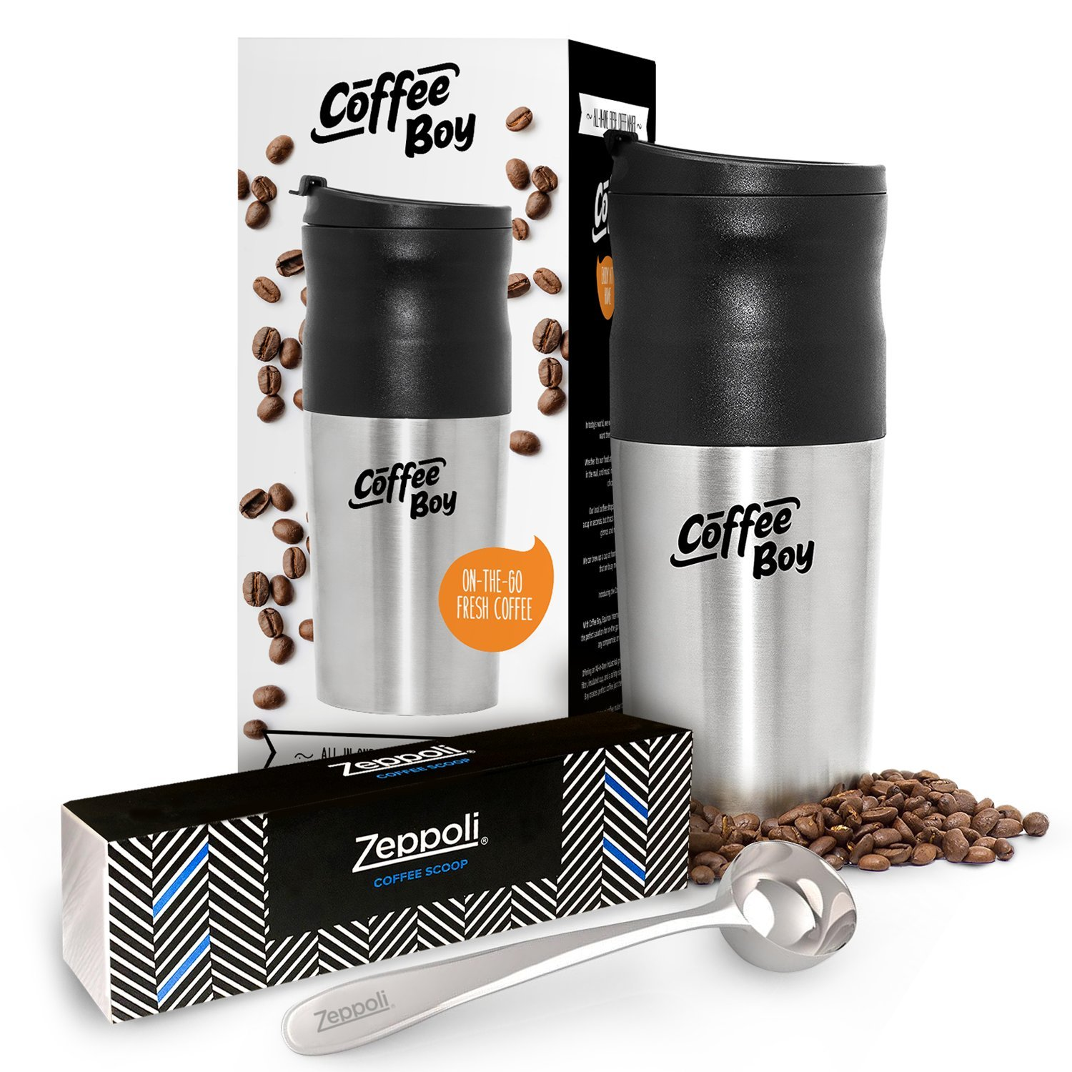 Coffee Boy All-in-One Portable Coffee Maker by Equinox with Stainless Steel Zeppoli 1.5 Tablespoon Coffee Scoop [Limited Edition Bundle]